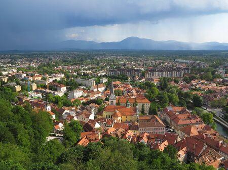 Nimbostratus clouds over the Capital City Ljubljana in Slovenia
