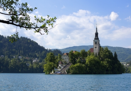 karavanke: Beautiful scene of Bled Lake in Slovenia with Julian Alps  Santa Maria Church is also captured in the picture