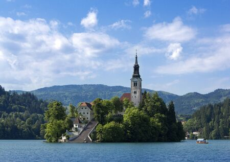 bled: Beautiful scene of Bled Lake in Slovenia, Santa Maria Church is also captured in the picture
