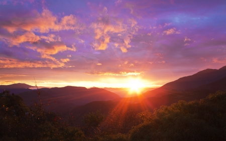 purple sunset: Beautiful sunrise over the mountains