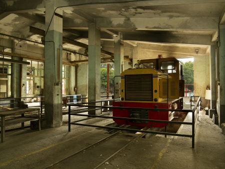 Train in the old service depot which is turning to be a train museum in Taiwan Editorial