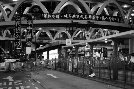 HONG KONG, OCT 8: Umbrella Revolution in Causeway Bay on 8 October 2014. Hong Kong people are fighting for a real universal suffrage for the next chief executive election. Editorial