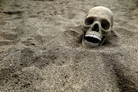 Skeleton remains buried in the sand