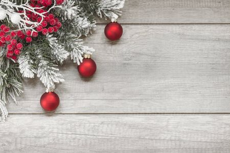 red lantern: Christmas decoration on wooden planks