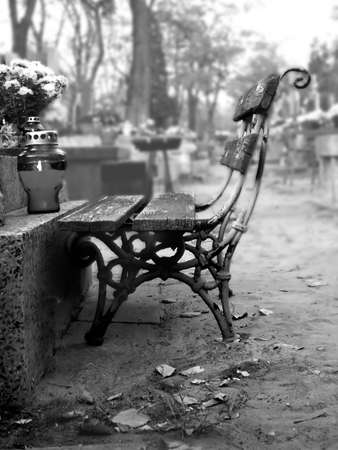 bench on the cemetery Stock Photo