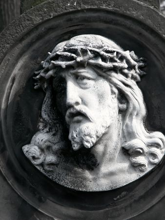 Jesus in a cemetery - Poland Stock Photo