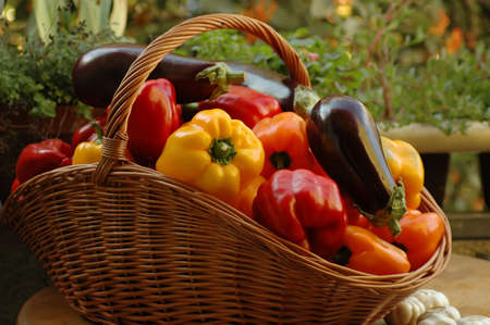 vegetables in a basket on a table Stock Photo - 538051
