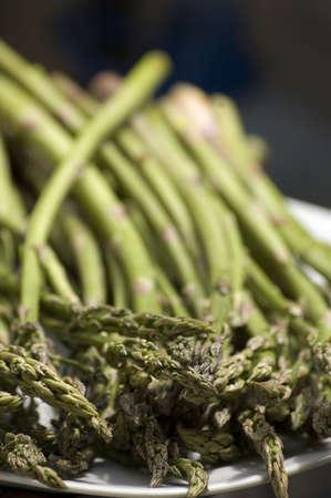 fresh asparagus on a plate Stock Photo