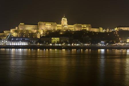 scenary: Hungarian Royal Palace over Danube at night
