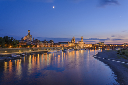 historical reflections: Old city at night, just after a summer sunset, Dresden, Germany