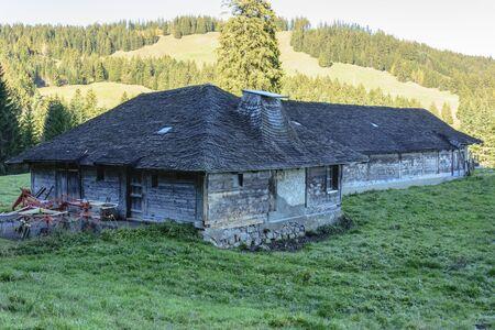 farm building: Ancient wooden farm building in Swiss alps