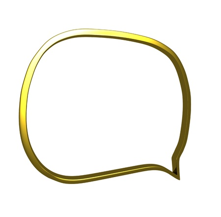 shinning: An illustration of a speech bubble in chrome in gold
