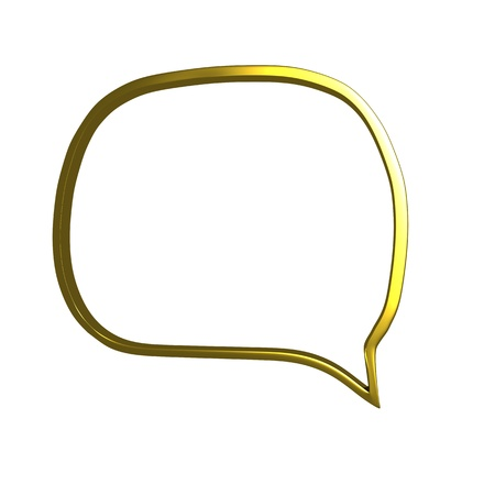 An illustration of a speech bubble in chrome in gold illustration