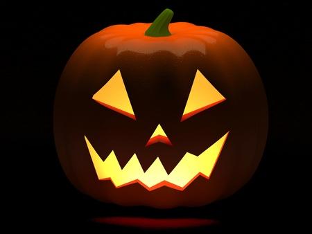 cucurbit: A Halloween Jack O Lantern isolated against a back background