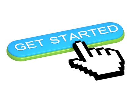 GET STARTED button with hand cursor photo