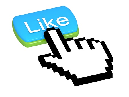 clic: Like button with mouse cursor Stock Photo