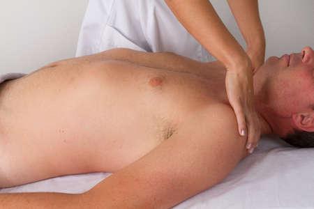 tuina: neck massage Stock Photo
