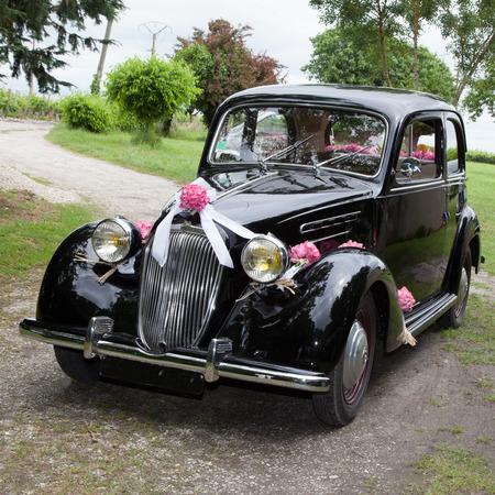 Old stylish wedding car