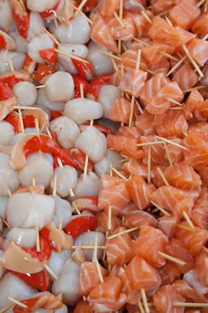 scallops: scallops and salmon