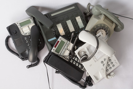 A pile of phones Stock Photo