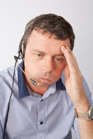 background skype: man at call center Stock Photo