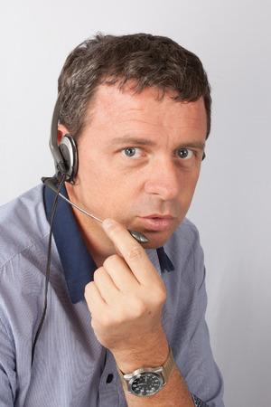 background skype: Man at call center