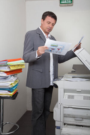 photocopy: Business man with the photocopy and reporting Stock Photo