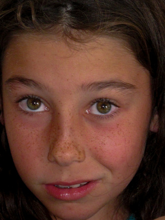 embarassed: Little girl Stock Photo