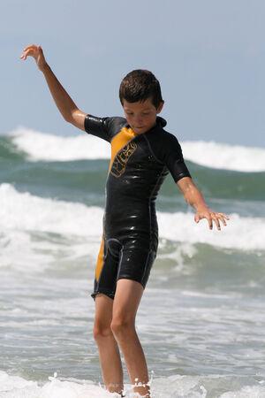 bodyboard: Little boy surfing