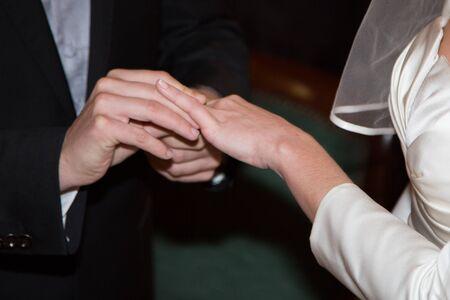 25 30: Bride and groom exchanging wedding rings