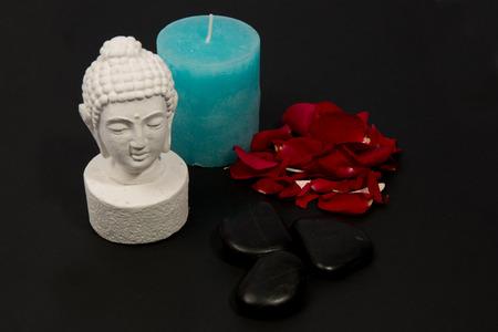 future buddha: Clairvoyance equipment for fortunetelling on dark desk