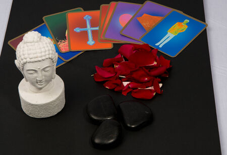 Clairvoyance equipment for fortunetelling on dark desk