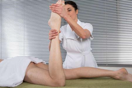salon and spa: Foot massage in the spa salon