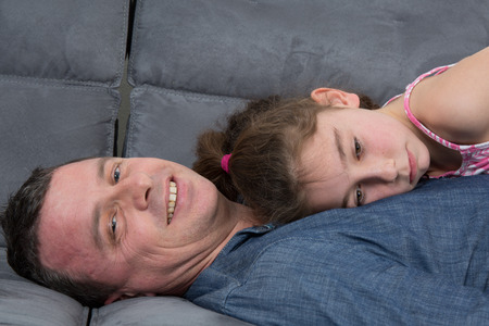 8 10 years: A dad and his daughter Stock Photo