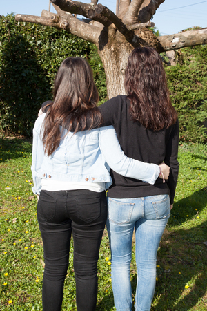 Young women standing on grass hugging rear view photo