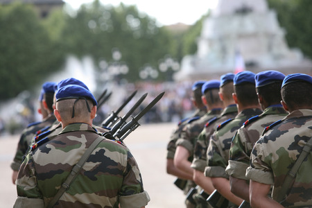 french: A french army marching soldier