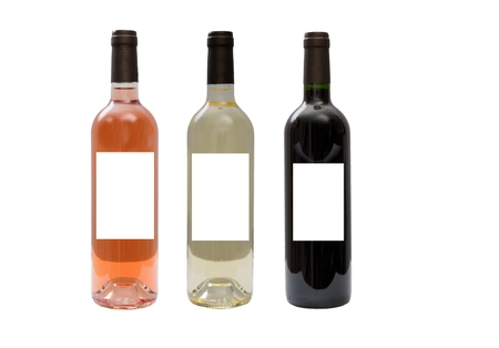 White, pink, and red wine bottles set isolated on white background photo