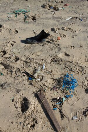 detritus: Lot of rubbish washed up on the shore on the beach