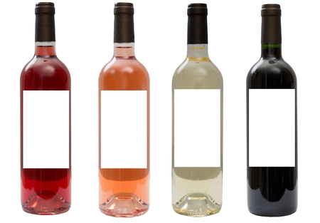 White, pink, and red wine bottles set photo