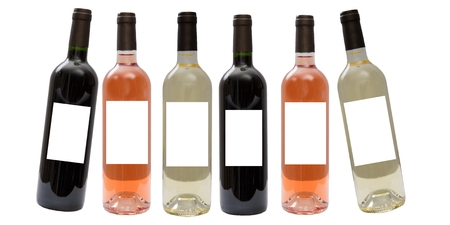 aligote: Set of white, rose, and red wine bottles.isolated on white background Stock Photo