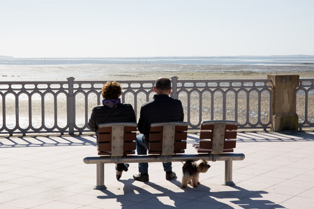 A rear view of people sitting on a bench at sea side photo