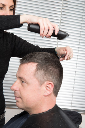 cutting horse: Hairdresser cuts hair with a electric razor