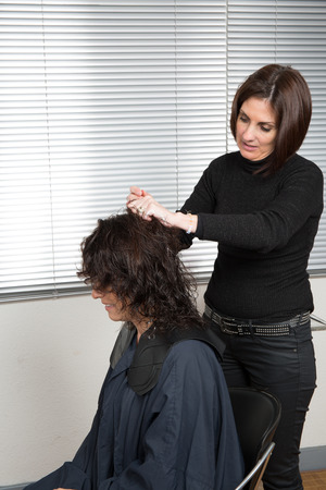 split ends: Stylist cutting split ends her customer is at the living room Stock Photo