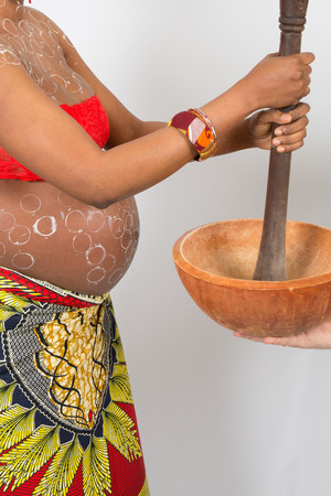 Lovely and nice Pregnant african woman, tradition and Africa photo