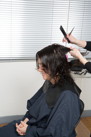 blow dry: Lady cutting hair at the hairdresser isolated on white background