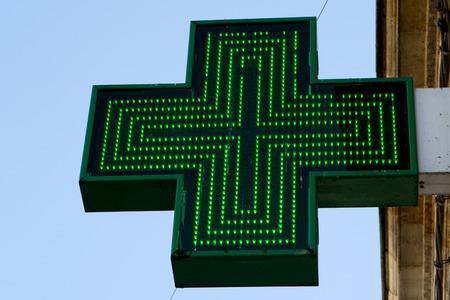 pharmacy symbol: Pharmacy sign or Drug store symbol (Green cross) Stock Photo