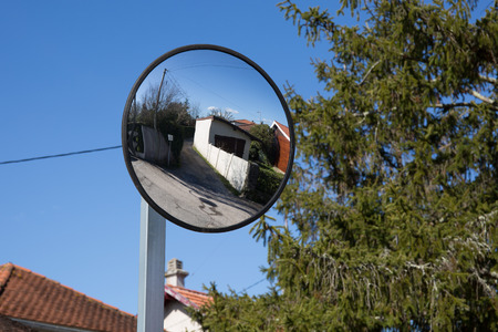 convex: Close up traffic convex mirror near car park entrance