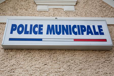 delincuencia: Signo de la polic�a municipal Foto de archivo