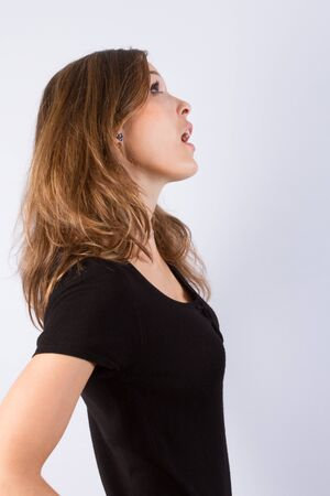 slinky: Young pretty woman in black dress