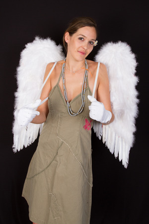 perky: young dark-haired woman with  wings on her back